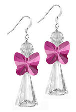 STERLING SILVER 925 & SWAROVSKI CRYSTAL EARRING KIT, FUCHSIA PINK ANGEL