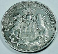 Kaiserreich 3,- Mark - 1909 J - SILBER; FREIE & HANSESTADT HAMBURG - ST / UNZ