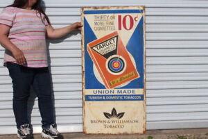 """Large Vintage Target 10c Cigarette Tobacco Store Shop Gas Oil 48"""" Metal Sign"""