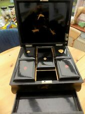 ANTIQUE ORIENTAL LACQUER GAMES CARD BOX HAND PAINTED ON STAND