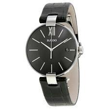 Rado Coupole Black Dial Black Leather Mens Watch R22852155