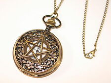 PENTAGRAM PENTACLE Devils Trap Supernatural Pocket Watch Necklace - Wiccan