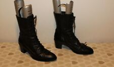 Black Leather ZINDA Zip Lace Up Military Combat Pointed Mid Calf Boots Sz 6 / 39