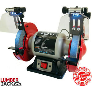 "Lumberjack 6"" Bench Grinder & Polisher Heavy Duty Twin Wheel 250w 150mm 230v"
