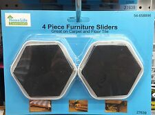 Furniture Sliders For Moving Furniture On Carpet Or Tile - 4 Pieces