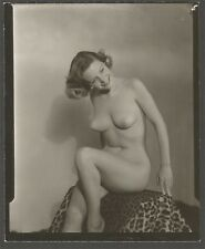 1950s Nude Brunette Pin-Up Girlie Magazine Model Candid Moment Proof Photograph