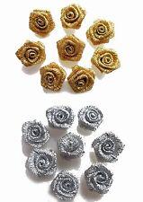 10 PK Small Mini Satin Ribbon Rose Buds Flowers Embellishment Gold Silver UK