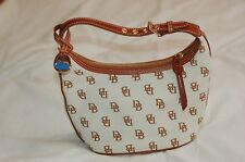 Dooney & Bourke Beige Brown Canvas Shoulder Bag Signature Logo Leather Strap