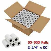 2 1/4 x 50' Thermal Paper Credit Card & POS Cash Register Receipt - 50-500 Rolls
