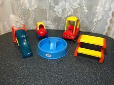 VINTAGE Little Tikes Dollhouse Furniture Pool Picnic Table Slide Cozy Coupes