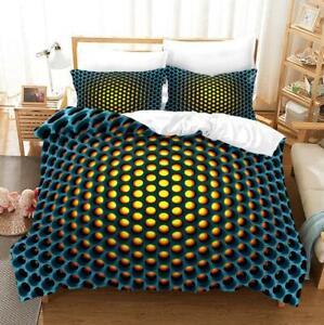 Honeycomb Doona Duvet Quilt Cover Set Single/Double/Queen/King Size Bed Set