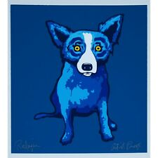 George Rodrigue Blue Dog Lil Blue Dog Blue Silkscreen Print Signed Numbered Art
