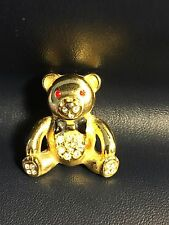 Bear Brooch Pin Lot Jh-25 Vintage Gold Tone Rhinestone Teddy