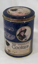 Vintage Victorian Style Ladies Mini Chocolate Cookie Tin Canister Blue