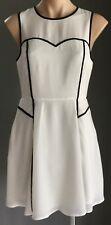 Pre-owned White & Black Trim T by BETTINA LIANO Sleeveless Sheath Dress Size 10