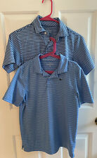 Vineyard Vines Set of 2 Boys Medium 10 12 Performance Golf Shirts Blue Stripe