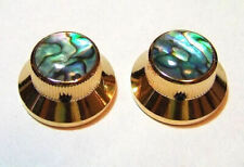 Guitar Parts - KNOBS - Metal TOP HAT Bell Skirt - ABALONE TOP - Set 2 - GOLD