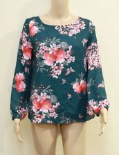 Wallis Petite Green Floral Print Top Size UK 12 VR37 05