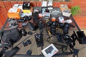Job Lot Of Old Vintage Film Cameras, Cine Cameras And Accessories nikon olympus