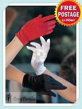 Black Red White Short Clown Opera Costume Satin Wrist Length Gloves