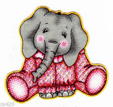 "2.5"" BAZOOPLES JUNGLE BABIES ELEPHANT  ANIMAL FABRIC APPLIQUE IRON ON"