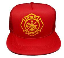 Kids Fireman Fire Halloween Costume Snapback Mesh Trucker Hat Cap 5-10