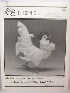 "Proud Rooster Crochet Pattern 11.5"" High 1992 Original Design Lorie Stark 6898"