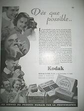 PUBLICITE DE PRESSE KODAK APPAREIL PHOTO DU PROGRES FRENCH AD 1944