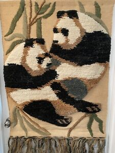 VINTAGE TOM TAYLOR  Handmade Hand Hooked Textile Art Panda Bears