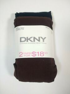 DKNY Opaque Control Top Tights 2 Pair Pack (1 Black/1 Brown) Size Medium