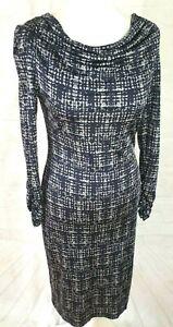 Ghost Cowl Neck Dress, Silky Stretch, Black & Grey, Beautiful Quality Size UK 10