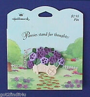 Hallmark PIN Easter Vintage PANSIES Flower WHEELBARROW Brooch NEW