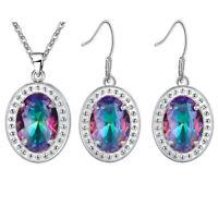 Rainbow Oval Cut Rainbow Fire Topaz Gemstone Silver Pendant Earrings Set New