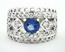 TANZANITE 1.18 Cts & WHITE SAPPHIRE RING Silver Plated * NEW/TAG * Size 5.25