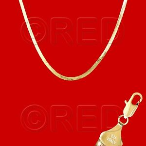 """GOLD over SILVER QUALITY MADE in ITALY 4mm HERRINGBONE CHAIN 20""""   NECKLACE VH4F"""