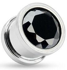 5mm Surgical Steel Ear Tunnel / Plug + Black CZ Crystal ~ Stretched Piercing