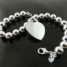 BRACELET CUFF BANGLE GENUINE 925 STERLING SILVER S/F BEAD LINK HEART DESIGN