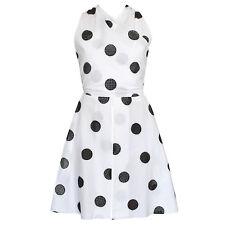 AZZEDINE ALAIA open back white cotton black polka dot mini wrap dress 40 NEW