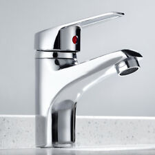 Modern Bathroom Taps Basin Sink Mono Mixer Chrome Cloakroom Tap w/ Free 2 Hose