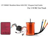【13T】3000KV Brushless Motor+60A ESC + Program Card Combo For 1/10 RC Car Truck