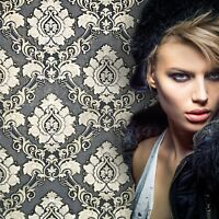 Embossed wallpaper textured Victorian damask gray gold metallic wallcoverings 3D