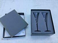 2 WATERFORD CRYSTAL CHAMPAGNE CELEBRATION OF LOVE TOASTING FLUTES ORIGINAL BOX