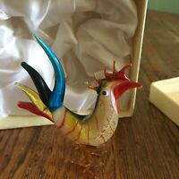 Vtg Hand Blown Glass Rooster figurine multicolored art glass gift box green red