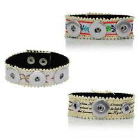 1 Bracelet Dentelle Tissu Pour Bouton Pression Click Clique M3490
