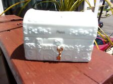 "Precious Moments March Trunk Hopechest Jewelry Box W/ Key & Jewel Vintage 1970""s"