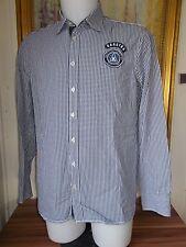 Chemise coton blanc petits carreaux bleu GAASTRA  M  40 manche longue