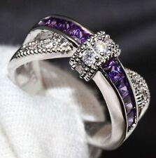Elegant GrößE 6-10 Lila Saphir Ehering Damen Silber Schmuck Geschenk