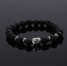 Charm Men Lava Rock Beaded Buddha Bracelet Lucky Yoga Energy Wrist Bracelet