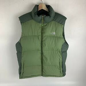 The North Face 550 Down Puffer Vest Two Tone Green Men's Large EUC