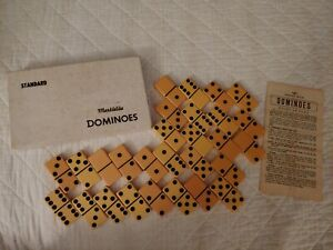 VINTAGE PUREMCO STANDARD MARBLELIKE DOMINOES BUTTERSCOTCH MADE IN, WACO TX USA